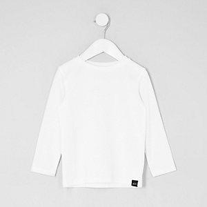 T-shirt blanc gaufré à manches longues mini garçon