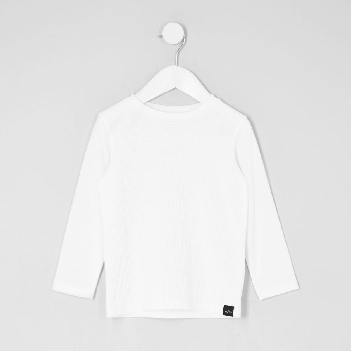 Mini boys white waffle long sleeve T-shirt