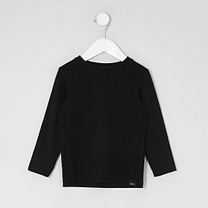 Mini - Zwart T-shirt met wafeldessin en lange mouwen voor jongens