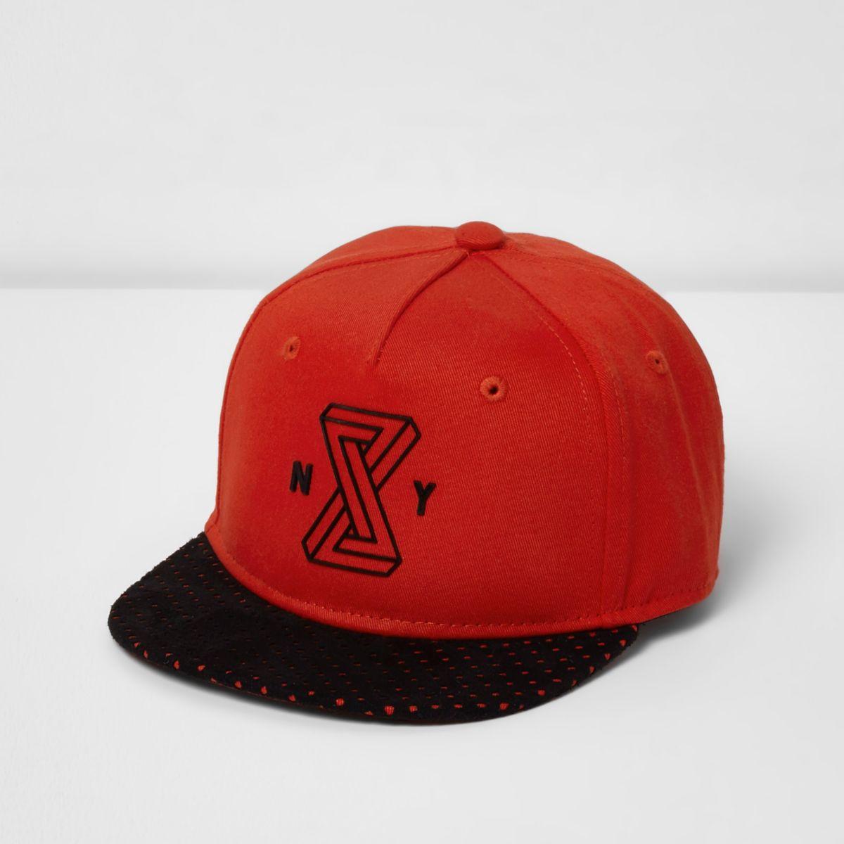 Boys red 'Brooklyn' flat peak cap