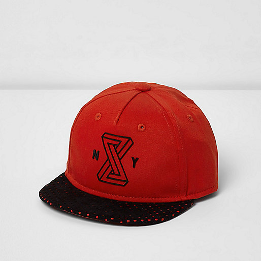 Mini boys red 'Brooklyn' flat peak cap