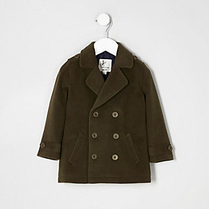 Mini boys khaki green pea coat