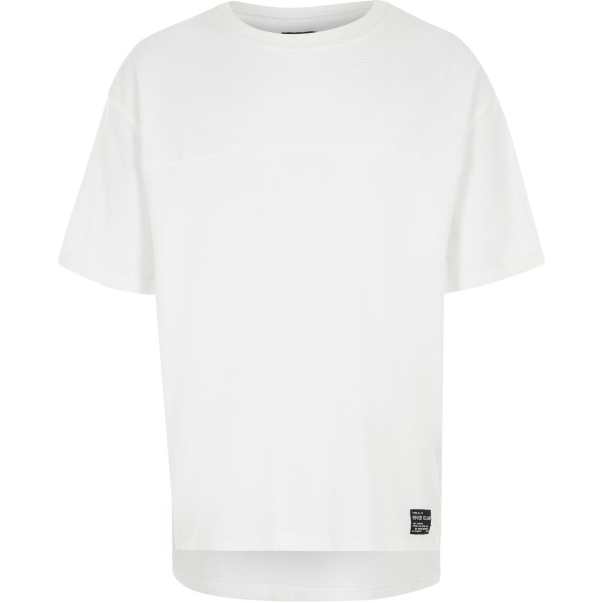 Boys white stepped hem waffle T-shirt