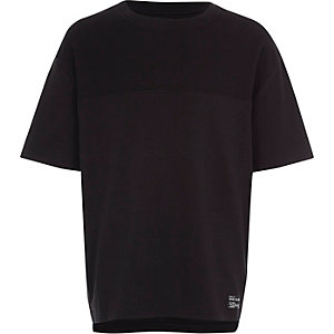 Boys black waffle blocked T-shirt