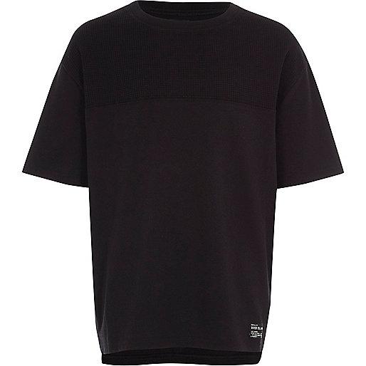 Boys black waffle blocked T-shirt