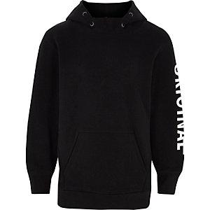 Boys black 'original' sleeve print hoodie