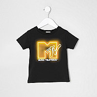 Mini boys black 'MTV' print T-shirt