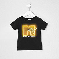 Mini boys black 'MTV' print T-shirt