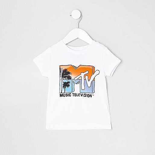 Mini boys white 'MTV' print T-shirt