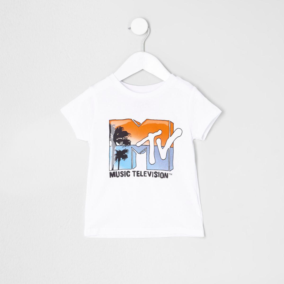 Mini boys white 'MTV' print T-shirt
