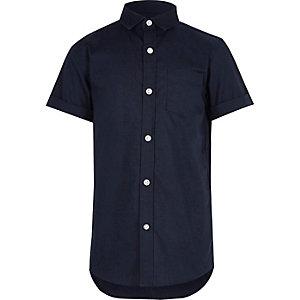 Marineblauw oxford overhemd met korte mouwen voor jongens