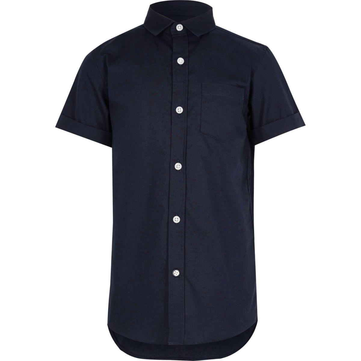 Boys navy short sleeve Oxford shirt