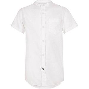 Wit overhemd zonder kraag met korte mouwen voor jongens
