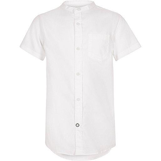 Boys white short sleeve grandad shirt