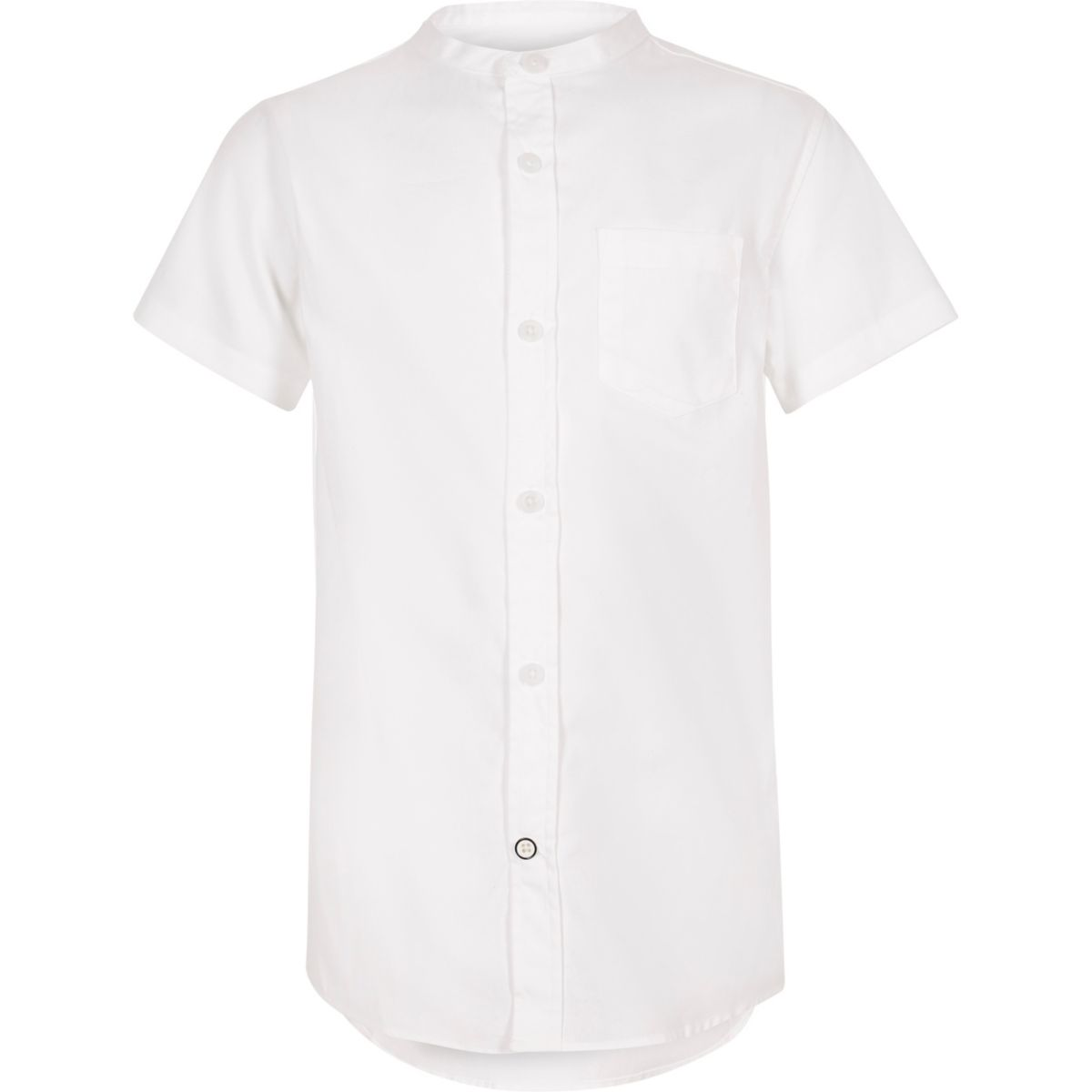 Boys white short sleeve grandad shirt occasionwear for Short sleeve grandad shirt
