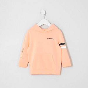 Mini boys coral orange printed hoodie