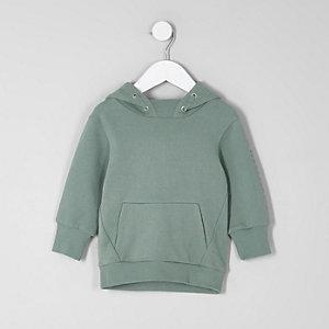 Mini - Kakigroene hoodie met print op de mouwen voor jongens