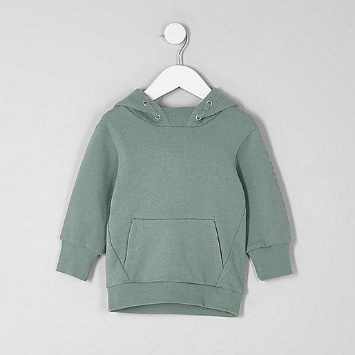 Mini boys khaki green print sleeve hoodie