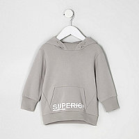 Mini boys grey 'superior' print hoodie
