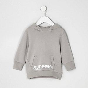 Mini - Grijze hoodie met 'superior'-print voor jongens