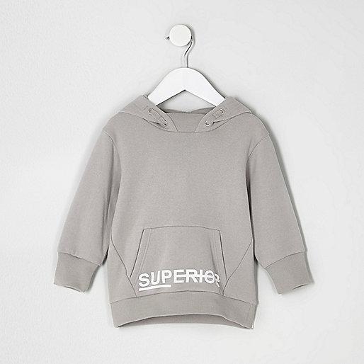 Mini boys grey 'superior' print hoodie