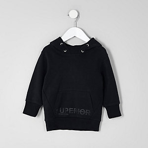 Mini - Marineblauwe hoodie met 'Superior'-print voor jongens
