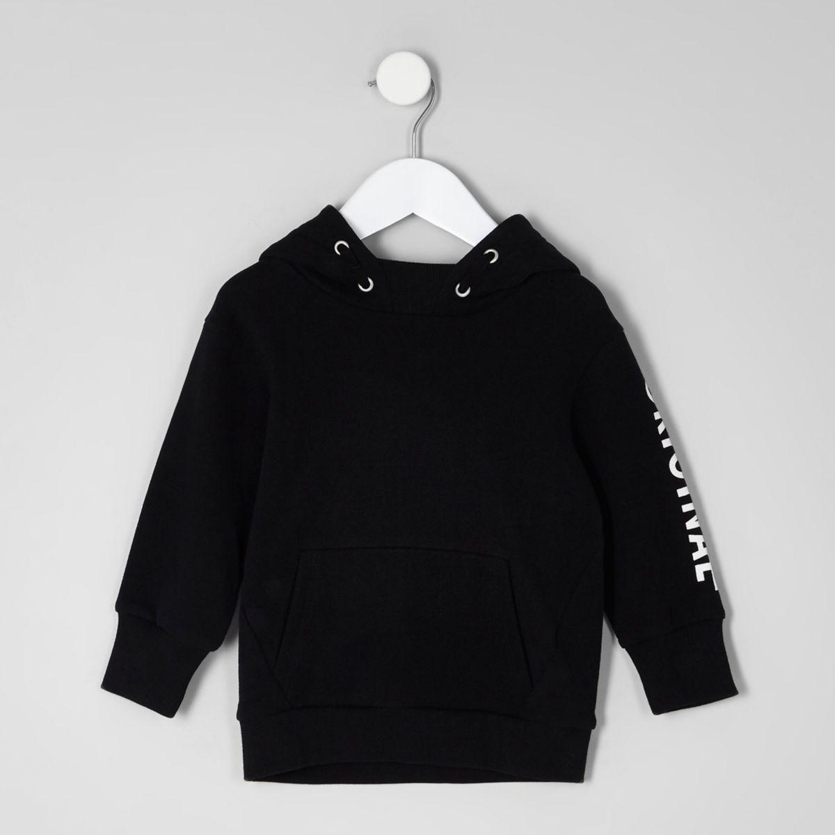 Mini boys black 'original' print hoodie