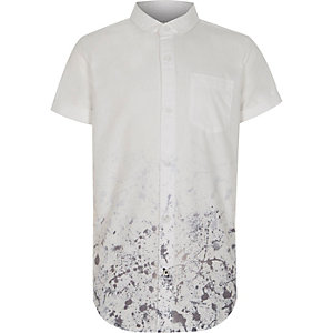 Boys white paint splatter short sleeve shirt