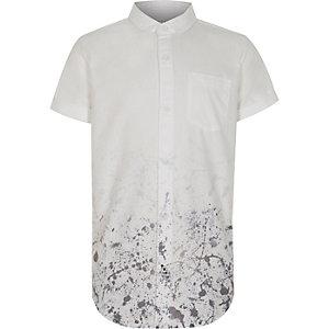 Wit overhemd met verfspatten en korte mouwen voor jongens