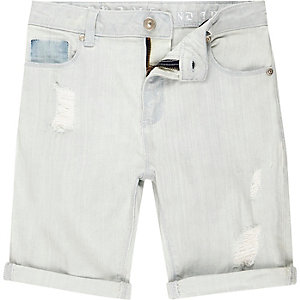 Lichtblauwe distressed denim short voor jongens