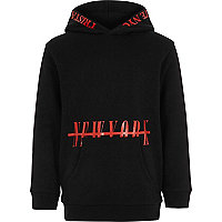 Boys black and red 'New York' print hoodie