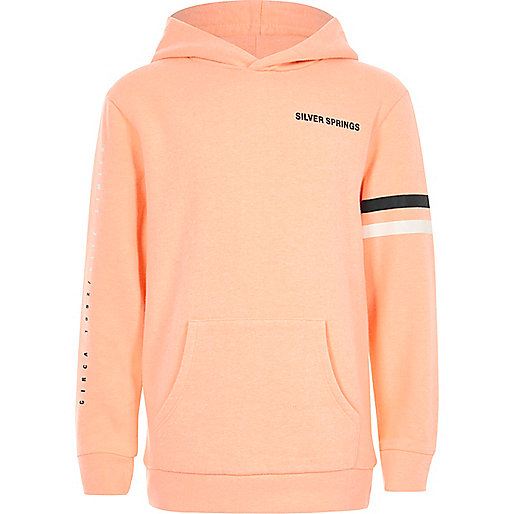 Boys orange 'Silver Springs' print hoodie