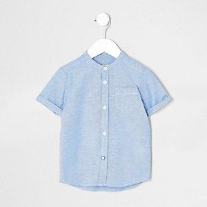 Mini - Blauw overhemd zonder kraag met korte mouwen voor jongens