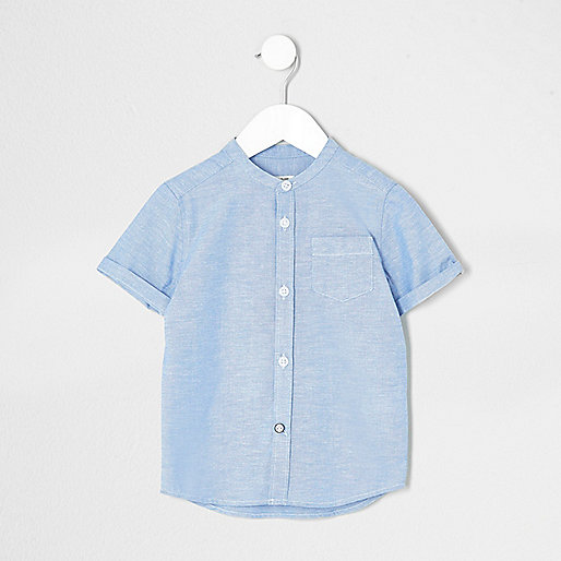 Mini boys blue short sleeve grandad shirt