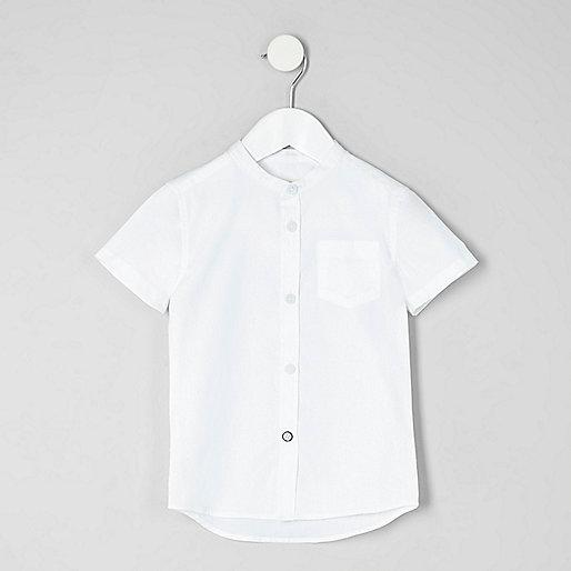 Mini boys white short sleeve grandad shirt