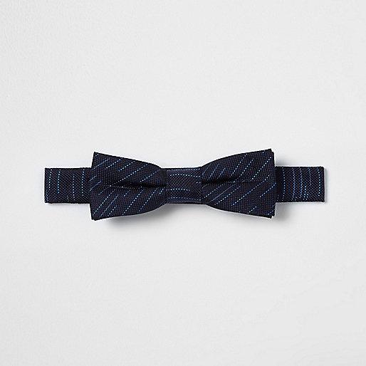 Boys navy stripe textured bow tie