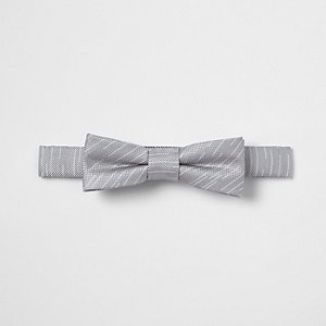 Boys grey stripe textured bow tie