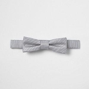 Nœud papillon rayé gris texturé pour garçon