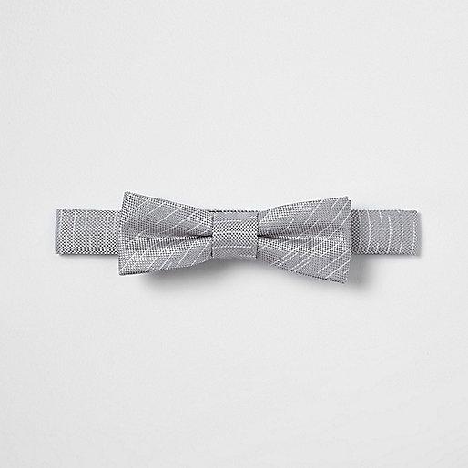 Boys grey stripe textured bow tie