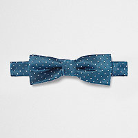 Boys light blue polka dot textured bow tie