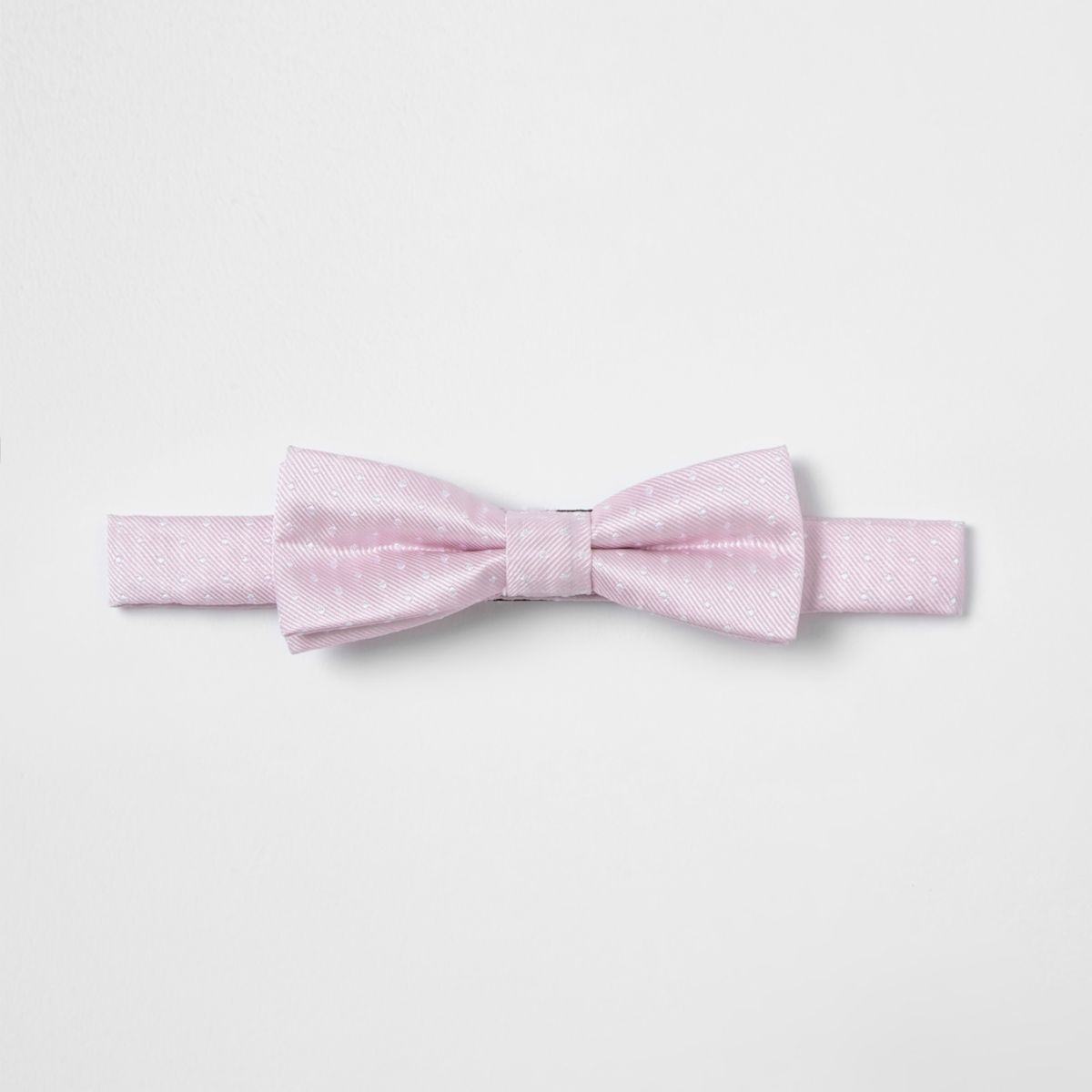 Boys pink polka dot textured bow tie