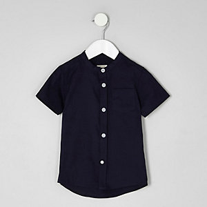 Mini boys navy grandad short sleeve shirt