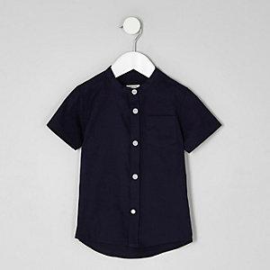 Mini - Marineblauw overhemd zonder kraag met korte mouwen voor jongens