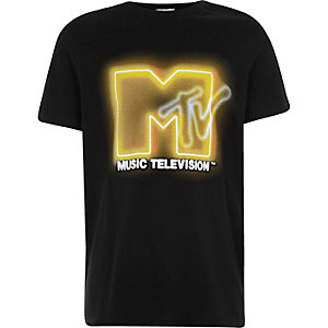 Boys black 'MTV' print T-shirt
