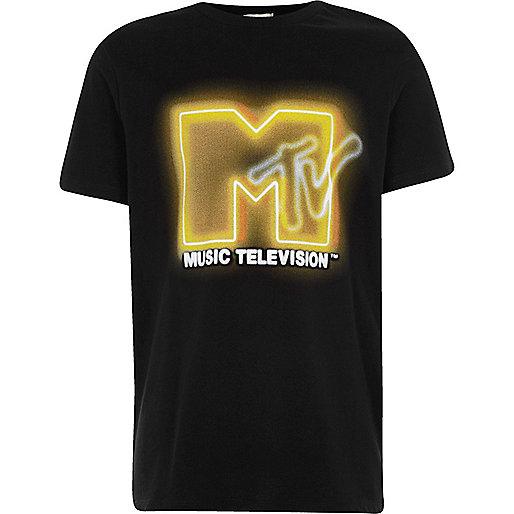Boys black 'MTV' print T-shirt