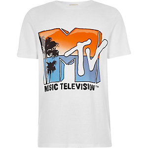 Boys white 'MTV' print T-shirt