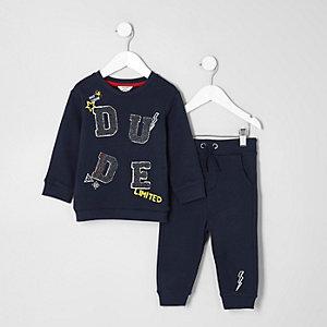 Mini - Marineblauw sweatshirt met dude-print en joggingbroek voor jongens