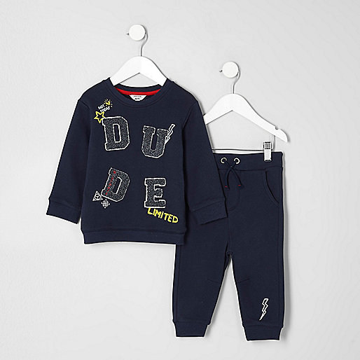 Mini boys navy 'dude' sweatshirt and joggers