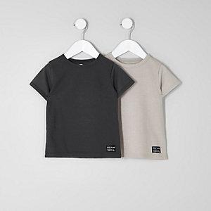 T-Shirt in Grau und Steingrau, Multipack