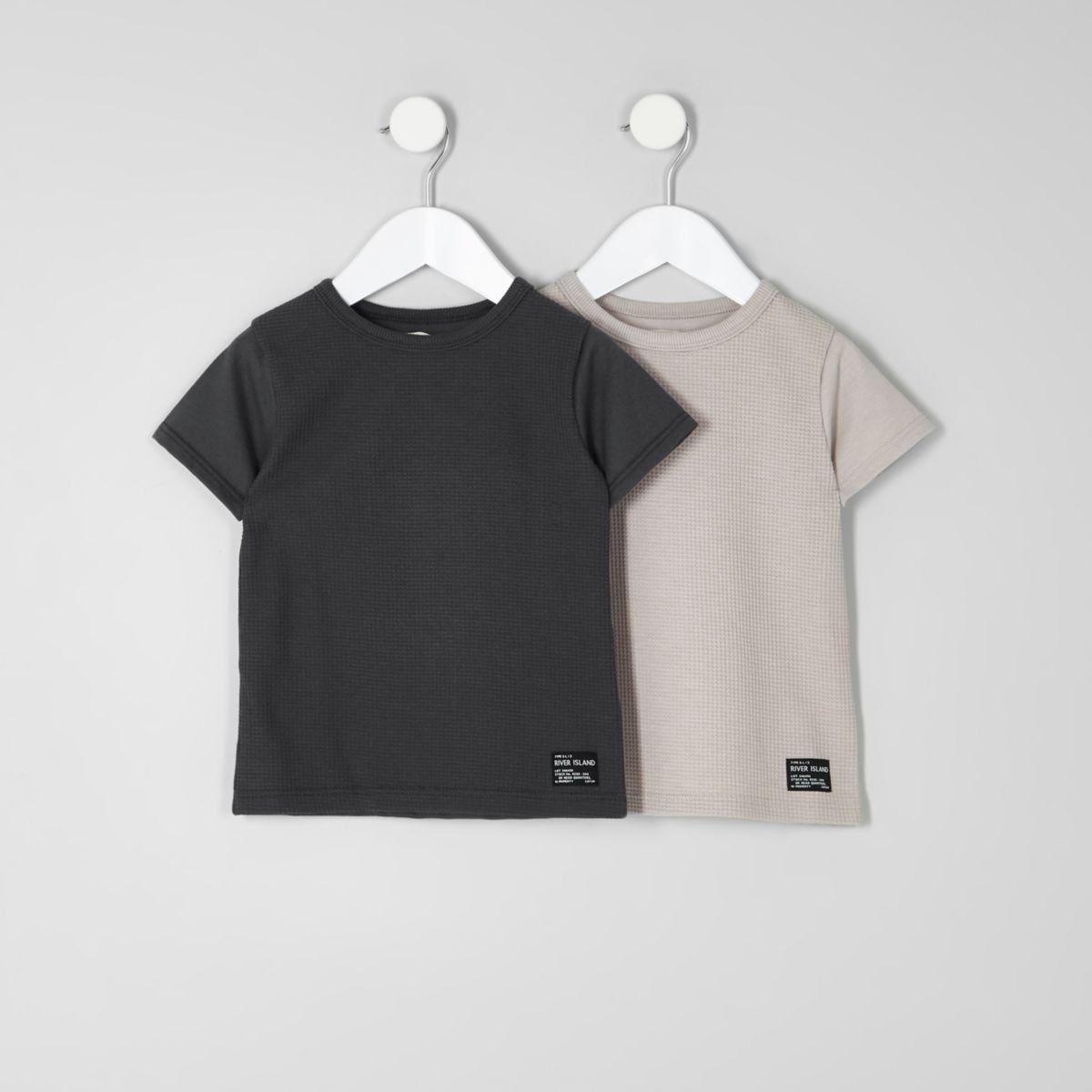 Mini boys grey and stone T-shirt multipack
